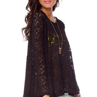 Young and Freesia Lace Tunic Top in Black :: tobi