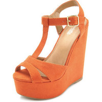  Sueded T-Strap Wedge Sandal