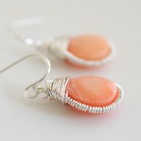 Coral Earrings Wire Wrapped Earrings Bezel Set by Jewels2Luv