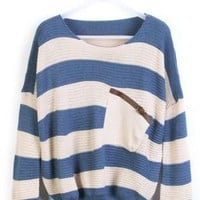 Blue White Striped Bat Sleeve Pullovers Sweater For Women