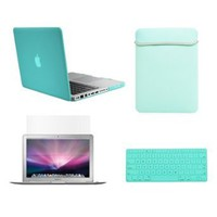 "TopCase New Macbook Pro 13"" 13 inch with Retina Display A1425 and A1502 (NEWEST VERSION 2013) 4 in 1 Bundle - Turqoise Blue Rubberized Hard Case Cover + Matching Color Soft Sleeve Bag + Silicone Keyboard Cover + LCD HD Clear Screen Protector with TopCase M"