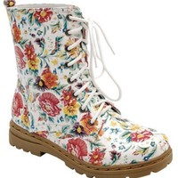 New Floral Combat Boots Mid Calf Flower Print Military Lace Up Pretty Fashion