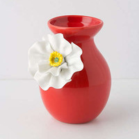 Anthropologie - White Poppy Vase