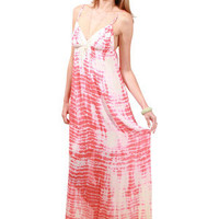 Gypsy05 Audry Silk Maxi Dress in Gold and Coral for sale online from Carolina Boutique in Mill Valley