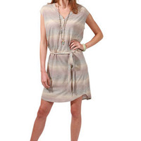 LA Made Retro Striped V-Neck Drawstring Dress in Cinder for sale online from Carolina Boutique in Mill Valley