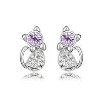 YCJ Women's Rhodium Plated Alloy Earrings: Cute Kitten Theme