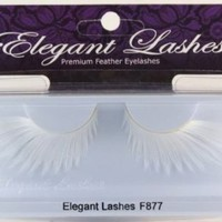 Elegant Lashes F877 Premium White Feather False Eyelashes Halloween Dance Rave Costume
