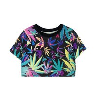 ZLCY Ladies Colorful Maple Leaf Printed Crop Tee for Women