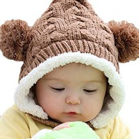 LOCOMO Baby Infant Knit Crochet Rib Pom Winter Hat Cap Hood FBA008