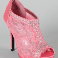 Yael-9 Floral Lace Jewel Ankle Bootie