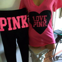 victoria secret PINK BLING SWEAT PANTS & TSHIRT SET NWT! MEDIUM