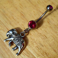 Belly Button ring  Elephant with Pink Gem Belly by ChelseaJewels