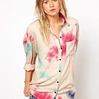 ASOS Boyfriend Shirt In Cosmic Tie Dye Print at asos.com