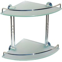 Dowell Double Corner Glass Shelf, Chrome Finish (2001 001 02)