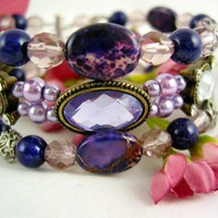 Purple Imperial Jasper Swarovski Crystal 4 Band Stack Beaded Bracelet