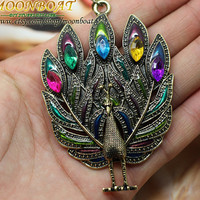 Women's Colourful Crystal Peacock Spreading Tail Necklace