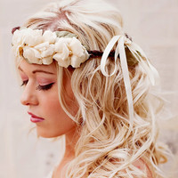Rustic Floral Crown - Boho Wedding Headband - Rustic Woodland Halo - Bridal Crown - Wedding Hair Accessories