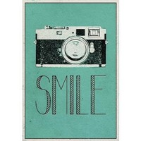 Smile Retro Camera Art Poster Print