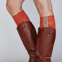 LACE Boot Cuffs Burnt Orange Lacy Faux Leg Warmer Boot Socks Boho Lace with Buttons and Ruffles the MiNi Original Three Bird Nest Designs