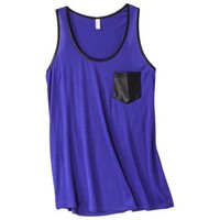 Xhilaration® Juniors Faux Leather Trim Racerback Tank - Assorted Colors