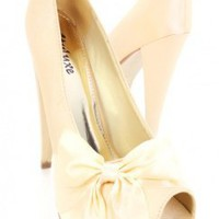 Champagne Satin Round Peep Toes Bow Platform Pump Heels @ Amiclubwear Heel Shoes online store sales:Stiletto Heel Shoes,High Heel Pumps,Womens High Heel Shoes,Prom Shoes,Summer Shoes,Spring Shoes,Spool Heel,Womens Dress Shoes,Prom Heels,Prom Pumps,High He