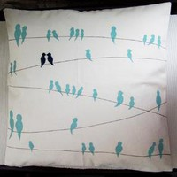 Blue Bird Wire Pillow Cover by studio35 on Etsy