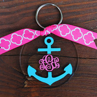 Monogram Anchor Key Chain Personalized Key Chain Custom Name Sorority Bride Wedding Shower Bachelorette Bridesmaid Key Chain