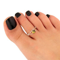 toe ring sterling silver toe ring  yin yang design adjustable toe ring (T-80) Also knuckle ring