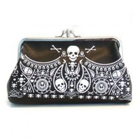 Amazon.com: Loungefly Embossed Double Kisslock Skull Bandana Vegan Clutch Purse: Penny Lane Gifts