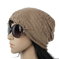 E10263 UNISEX BEANIE HAT WOMEN MEN SLOUCH BAGGY SPRING SUMMER WASHED CAP BEIGE