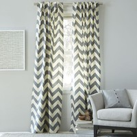 Cotton Canvas Zigzag Curtain – Feather Gray