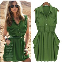 ZLYC Ladies Army Green Chiffon Dress with Belt for Women