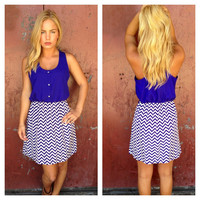 Button Up Chevron Print Dress with Belt