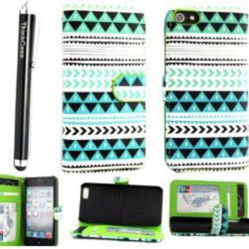 ThinkCase Tribal Design PU leather Wallet PU Leather Case Card Holder Flip Case Cover for iPhone 5 5G Colorful Blue Green with ThinkCase Stylus Pen