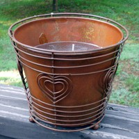 Citronella Gel Candle Rustic Bucket and Stand 20oz | SilkNLightsDesigns - Candles on ArtFire
