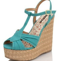 Amazon.com: Sea Blue Strappy Raffia Platform Wedge Ohara: Shoes