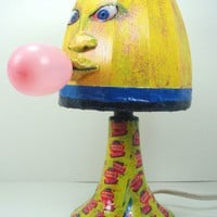 DOUBLE BUBBLE GUM LAMP, MIXED MEDIA, DECOUPAGE, AND PAINTED | ThePaintedThingamajig - Mixed Media on ArtFire