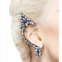 Full Rhinestones Elf Ear Cuff Ear Wrap Fashion Earrings, Right Ear (colorful white color style)