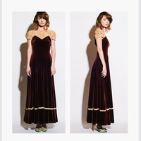 Vintage 1940s Old Hollywood Ecru Lace and Maroon Velvet Floor Length / Maxi Dress