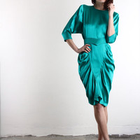 80s GLAM . Shiny Teal Dress . Satin, Belt
