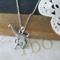 LEGGS giraffe charm necklace silver by brideblu on Etsy