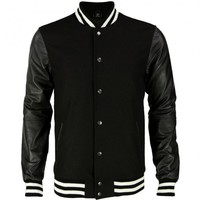 VIPARO | Black Leather Arm Sleeves and White Stripe Wool Varsity Jacket - Archie
