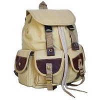 Military Inspired Stylish Backpack Canvas Bookbag Day Pack Khaki