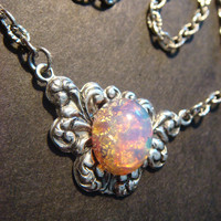 Victorian Style Fire Opal Necklace in Antique by CreepyCreationz