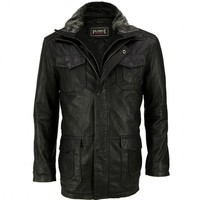VIPARO | Black Leather Mid Length Coat Jacket - Jensen
