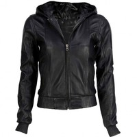 VIPARO | Black Hooded Bomber Lambskin Leather Jacket - Hoodwink