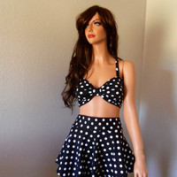 Black polka dot high waist bikini swim skirt
