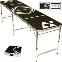 Beer Pong Table Black 8 FEET - Portable with 6 Pong Balls