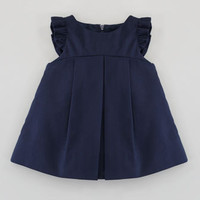 Florence Eiseman Plain Pincord Flutter-Sleeve Dress, Navy, 3-9 Months