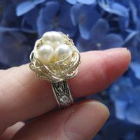 White Pearl Fairy Magic birdnest ring on silver by starsb117